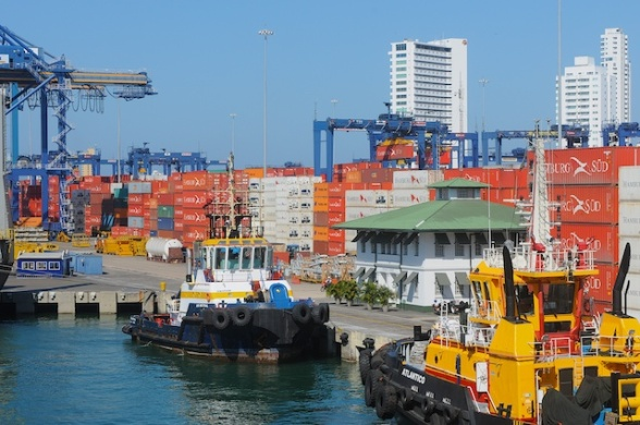 The port of Cartagena is a large container ship port.